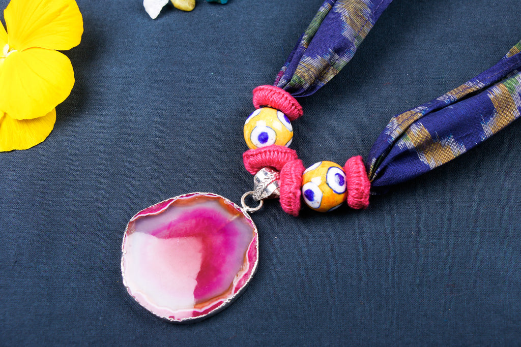Special Ikat Silk Fabric Stone Necklace