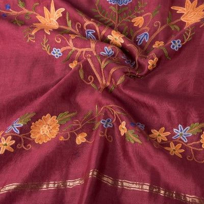Kashidakari Hand Embroidery Chanderi Silk Dupatta with Zari Border