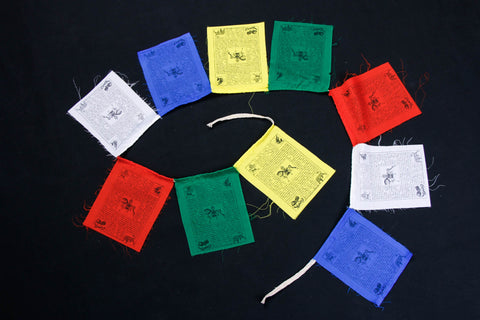 Tibetan Prayer Flag - Handmade in Himalayas - Lung Ta Wind Horse (Small)