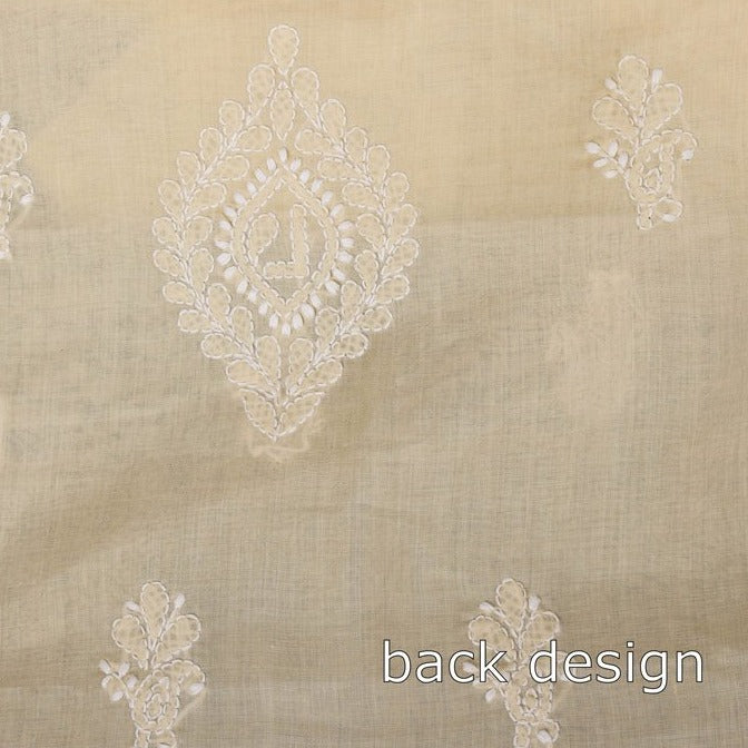 Chikankari Hand Embroidered Cotton 3pc Suit Material Set with Chiffon Dupatta