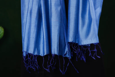 Sky Blue - Vidarbha Pure Tussar Silk Cotton Handloom Stole