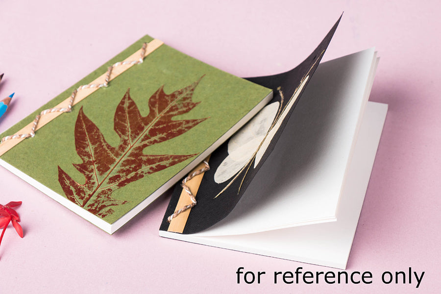 Flower Art Work Special Bamboo Notebook (8.4 in x 5.6 in)