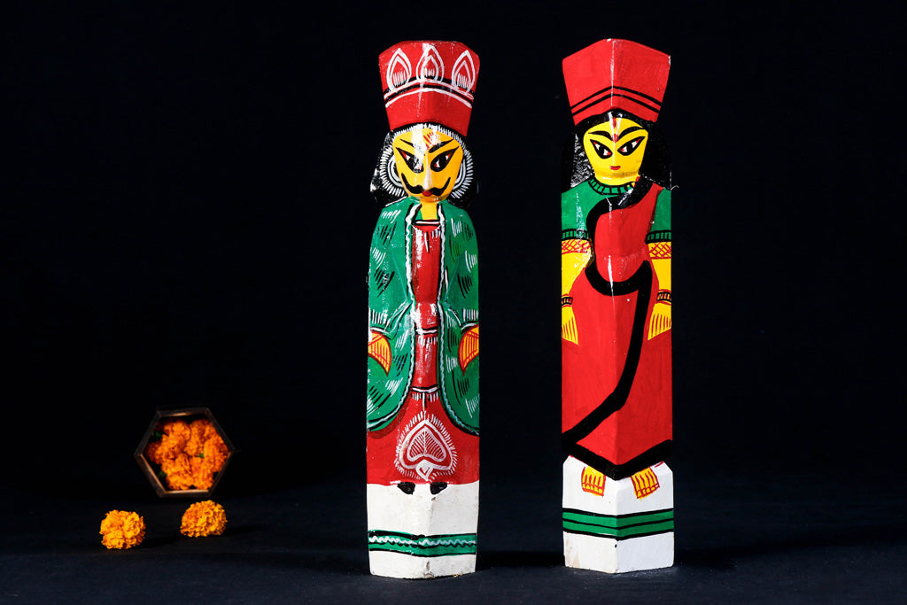 King & Queen - Traditional Burdwan Wood Craft Handpainted Sculpture (Set of 2)