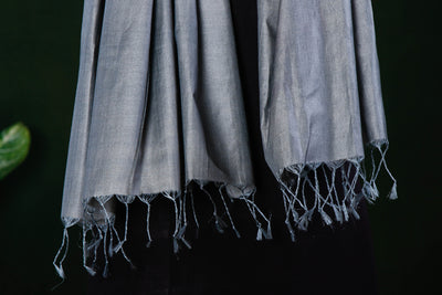 Grey - Vidarbha Pure Tussar Silk Cotton Handloom Stole