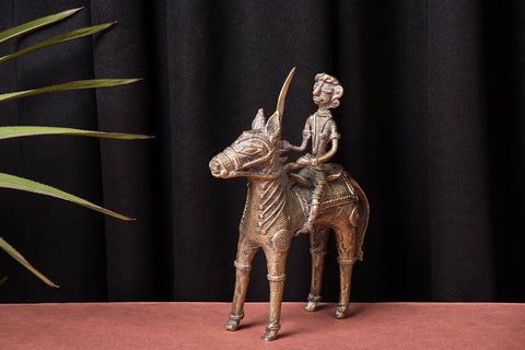 Tribal Bastar Dokra Craft - Horse with Man