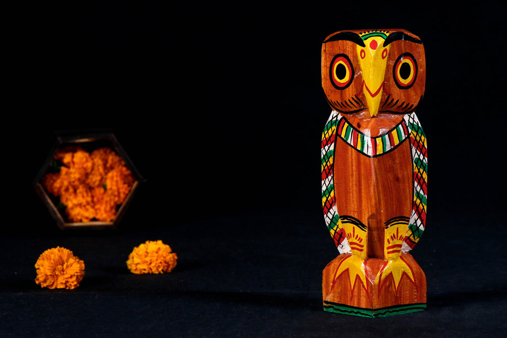 Owl - Traditional Burdwan Wood Craft Handpainted Sculpture (Medium)