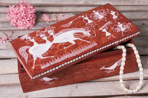 Warli Handpainted Wooden Jewellery Box