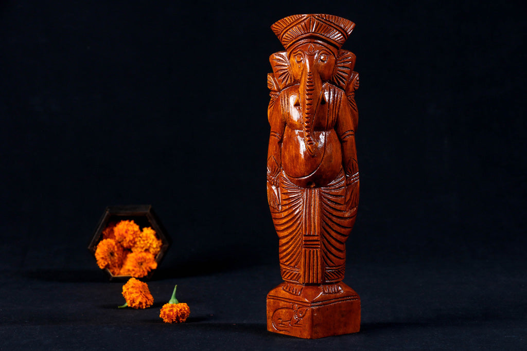 Lord Ganesha - Traditional Burdwan Wood Craft Sculpture (Small)
