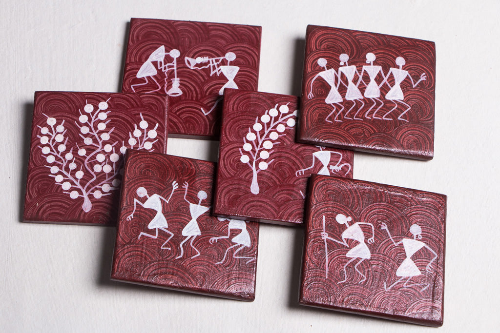 Warli Handpainted Wooden Coasters (Set of 6)