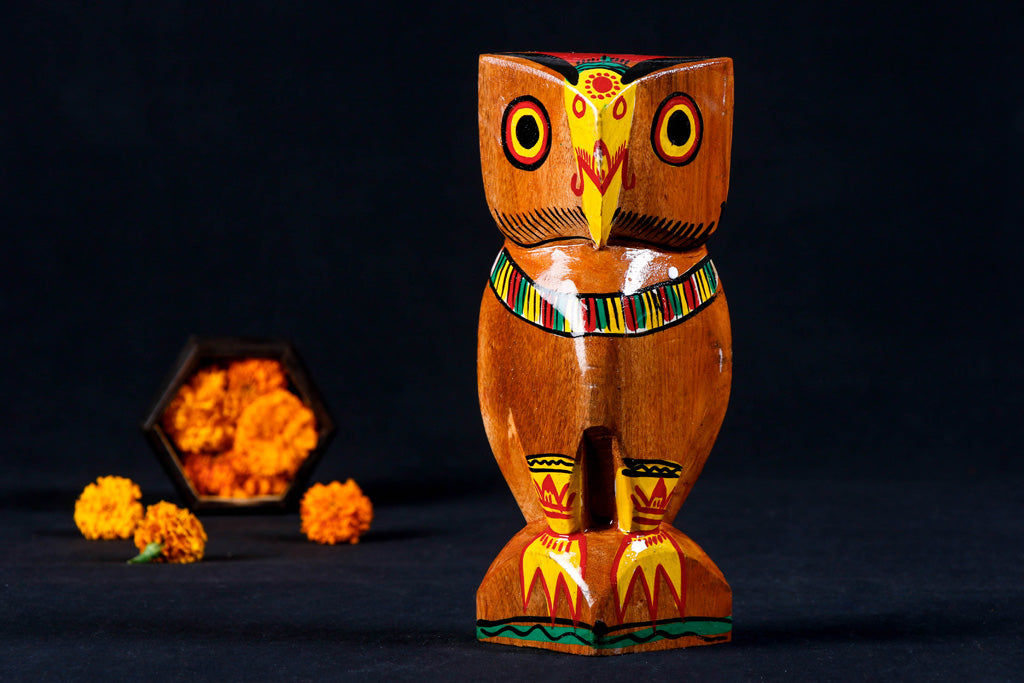 Owl - Traditional Burdwan Wood Craft Handpainted Sculpture (Small)