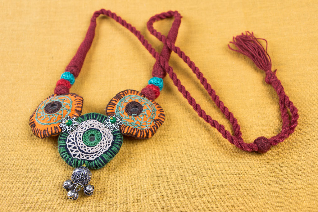 Chammak Challo Thread Mirror GS Bead Work Necklace