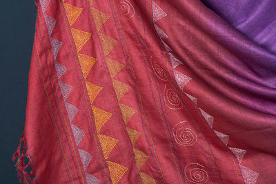 Authentic Bengal Kantha Hand Embroidered & Ombre Dyed Tussar Silk Dupatta