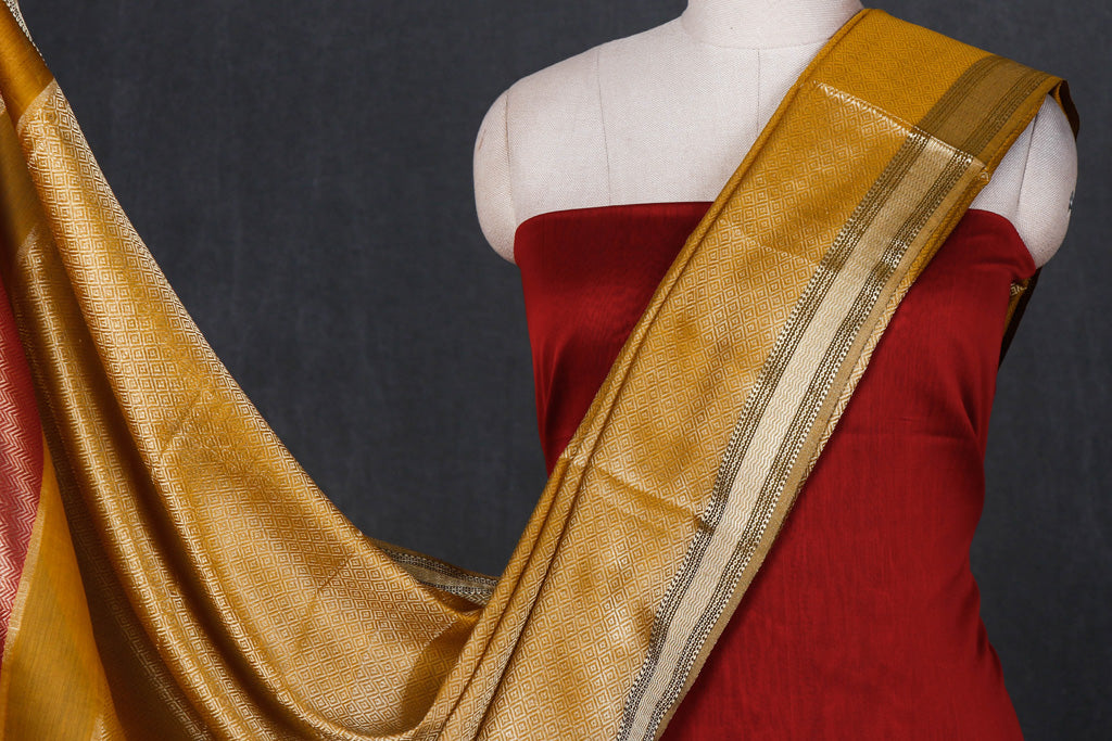 Original Maheshwari Silk Pure Handloom Zari Weave 3pc Suit Material Set