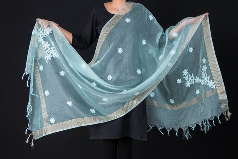 Lucknow Chikankari Hand Embroidered Silk Cotton Net Zari Dupatta