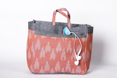 Handmade Multipurpose Ikat Fabric Organiser Bag