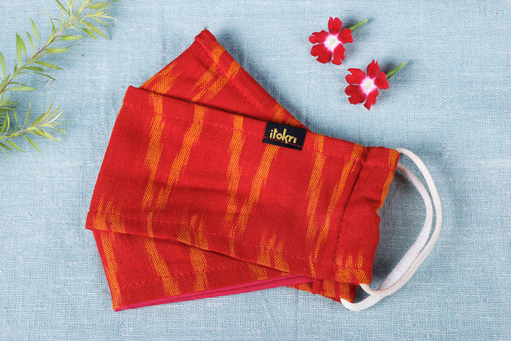 Pochampally Ikat Cotton Fabric 3 Layer Maska Snug Fit Face Cover