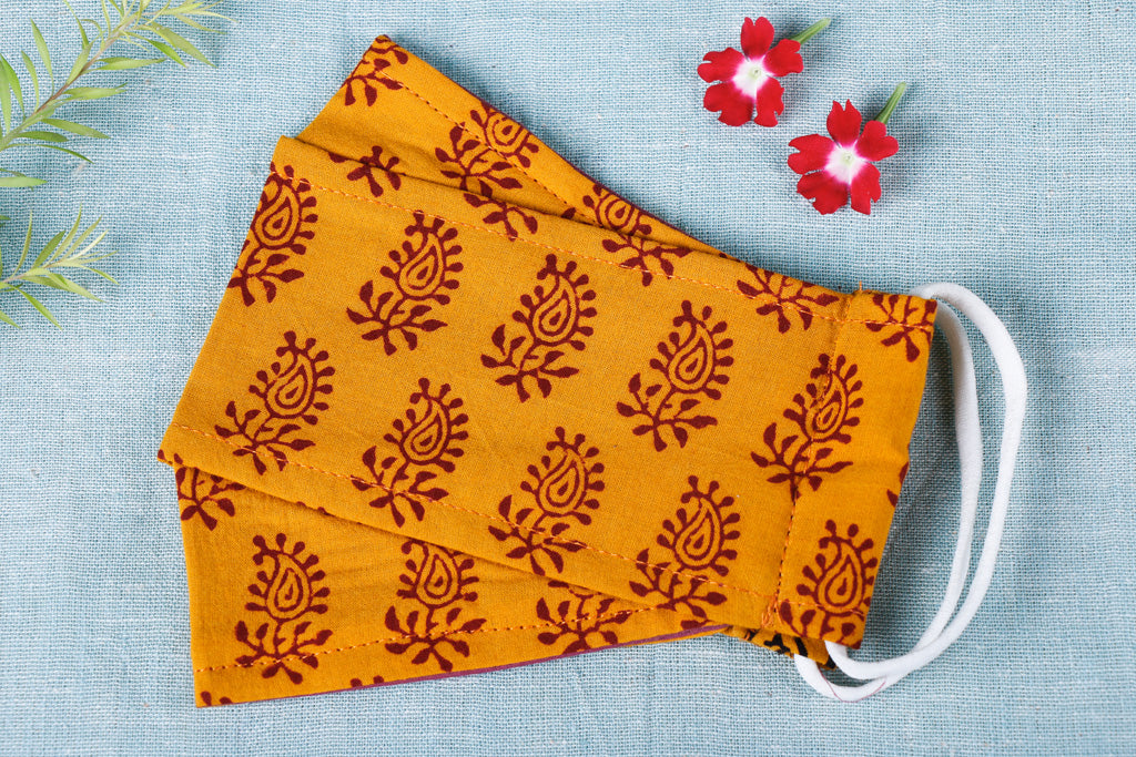 Bagh Print Cotton Fabric 3 Layer Maska Snug Fit Face Cover