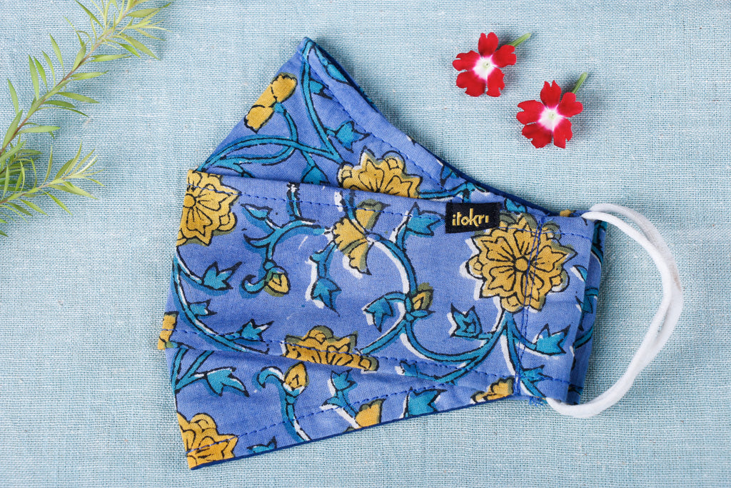 Sanganeri Print Cotton Fabric 3 Layer Maska Snug Fit Face Cover
