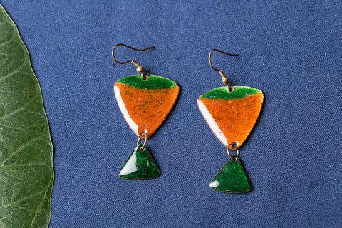 Hand Cut Meenakari Enamelled Earrings by Renu