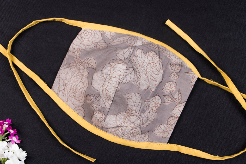 Natural Dyed Pure Cotton Fabric 2 Layer Tie-on Face Mask by Aavaran