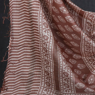 Original Maheshwari Silk Block Print Pure Handloom 3pc Suit Material Set