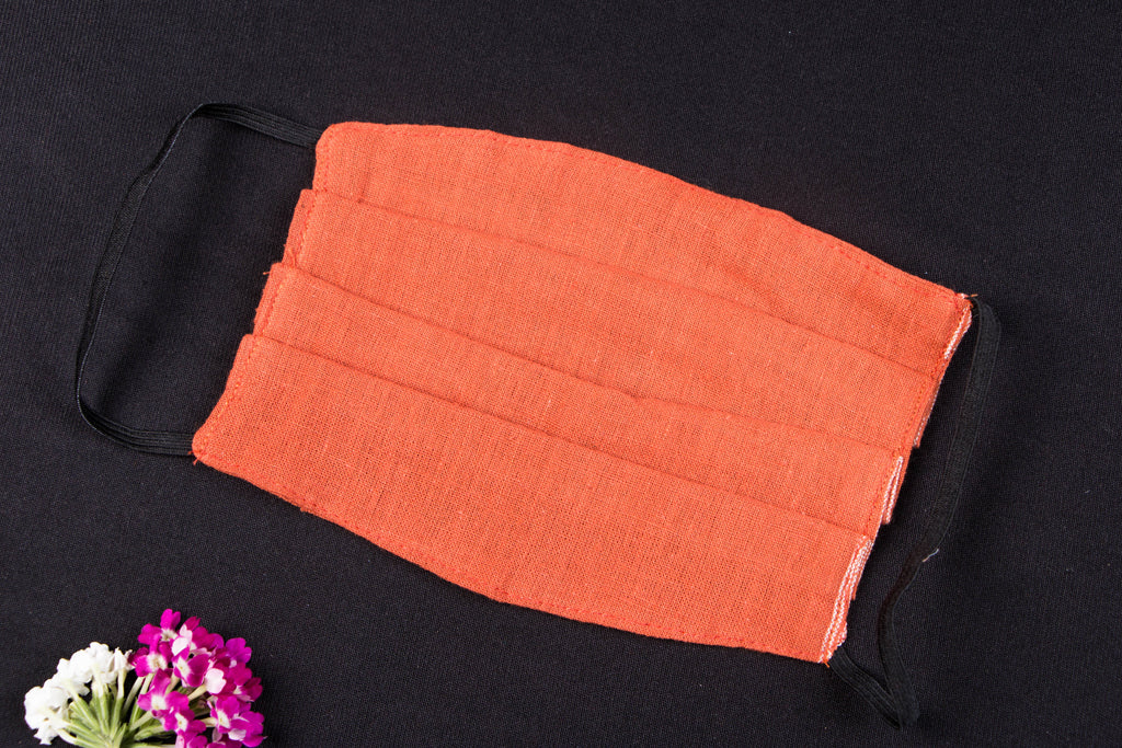 Organic Kala Cotton Pure Handloom Fabric 2 Layer Pleated Snug Fit Face Mask