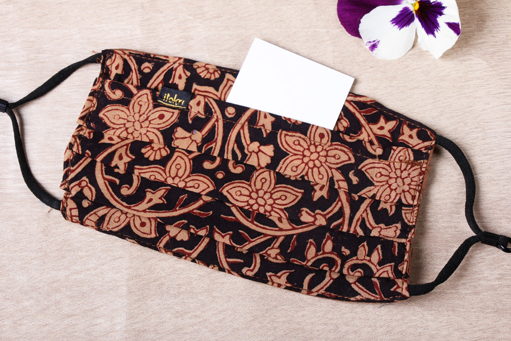 Bagh Block Print Cotton Fabric 3 Layer Pleated Face Cover with Filter Pocket
