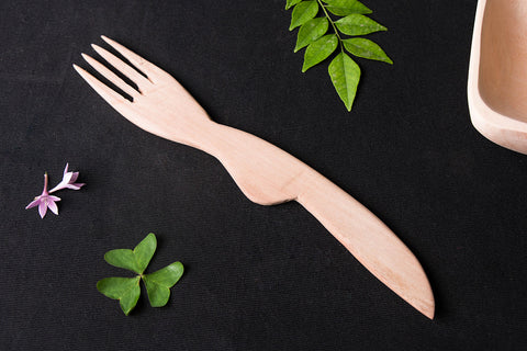 Handmade Udayagiri Wooden Serving Fork (Small)