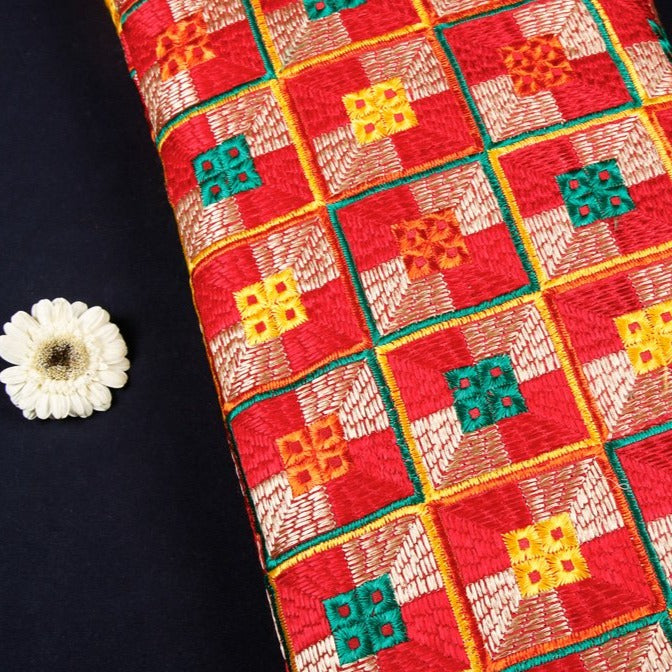 Traditional Phulkari Embroidered Chinnon Fabric