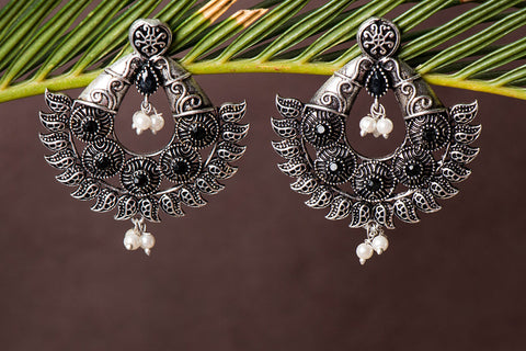 Antique Finish German Silver Stone Earrings