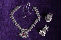 Antique Finish German Silver Stone Necklace Set