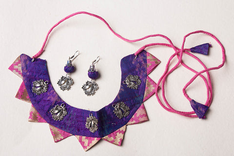 Silk Fabart German Silver Necklace Set by Noori Bazar