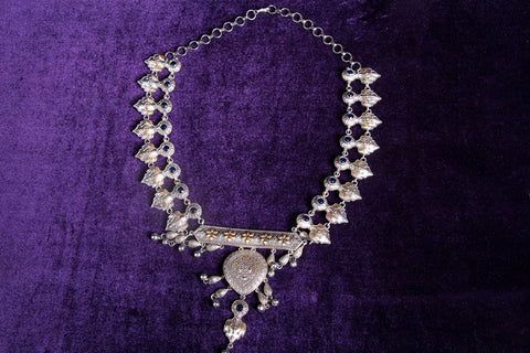 Antique German Silver Plated Dual Tone Oxidised Stone Necklace