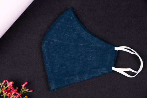 Indigo - Handwoven Handspun Eri Silk Natural Dyed 2 Layer Snug Fit Face Mask
