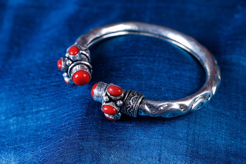 Antique Finish German Silver Stone Bangle / Kada / Bracelet (Adjustable)
