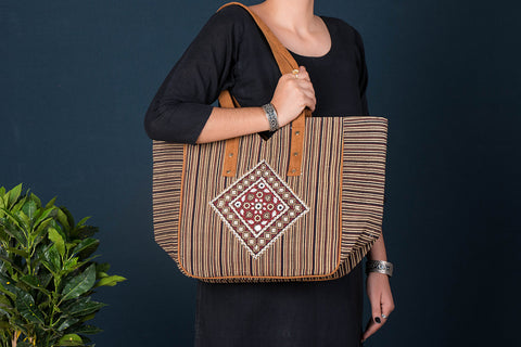 Ajrakh Handblock Printed Kantha Work Shoulder Bag with Tassels