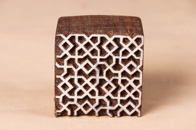 Hand-carved Sheesham Wood Block with Stand by Tahir