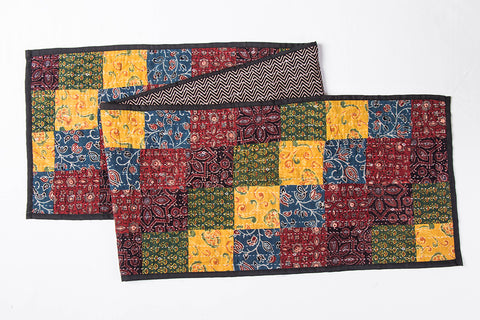 Kutch Tagai Embroidered Patchwork Ajrakh Cotton Table Runner