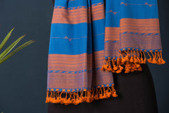 Kutchhi Weave Pure Handloom Cotton Stole with Tassels