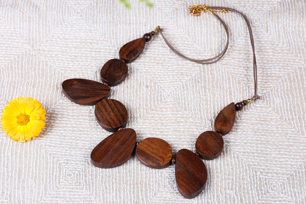Handcrafted Sheesham Wood Necklace