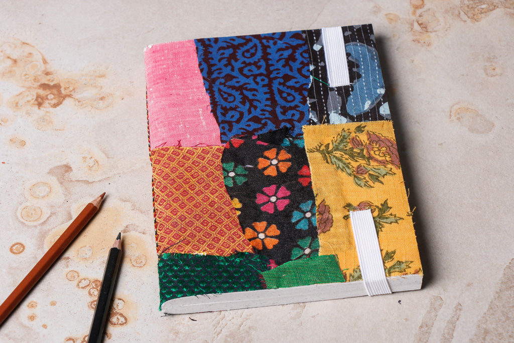 Patchwork Fabric Cover Handmade Paper Notebook with Elastic Lock