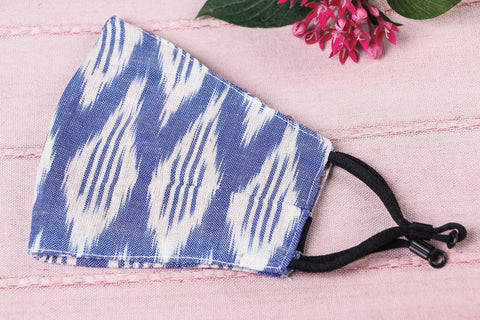 Pochampally Ikat Cotton Fabric 3 Layer Snug Fit Face Cover