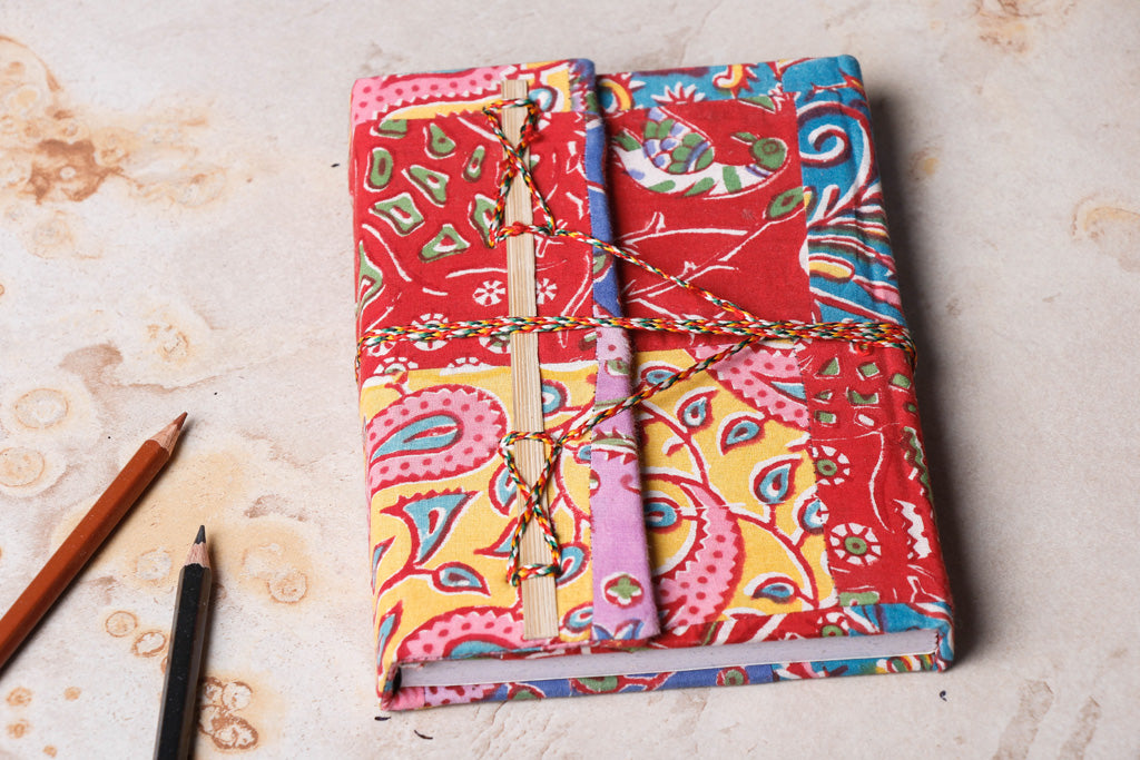 Fabric Cover Handmade Paper Notebook with Thread Lock