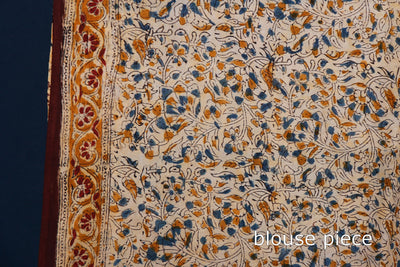 Kalamkari Hand Block Print Natural Dyed Silk Cotton Saree with Blouse
