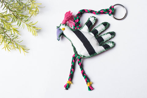 Kantha Stitch Funky Keychain - Peacock