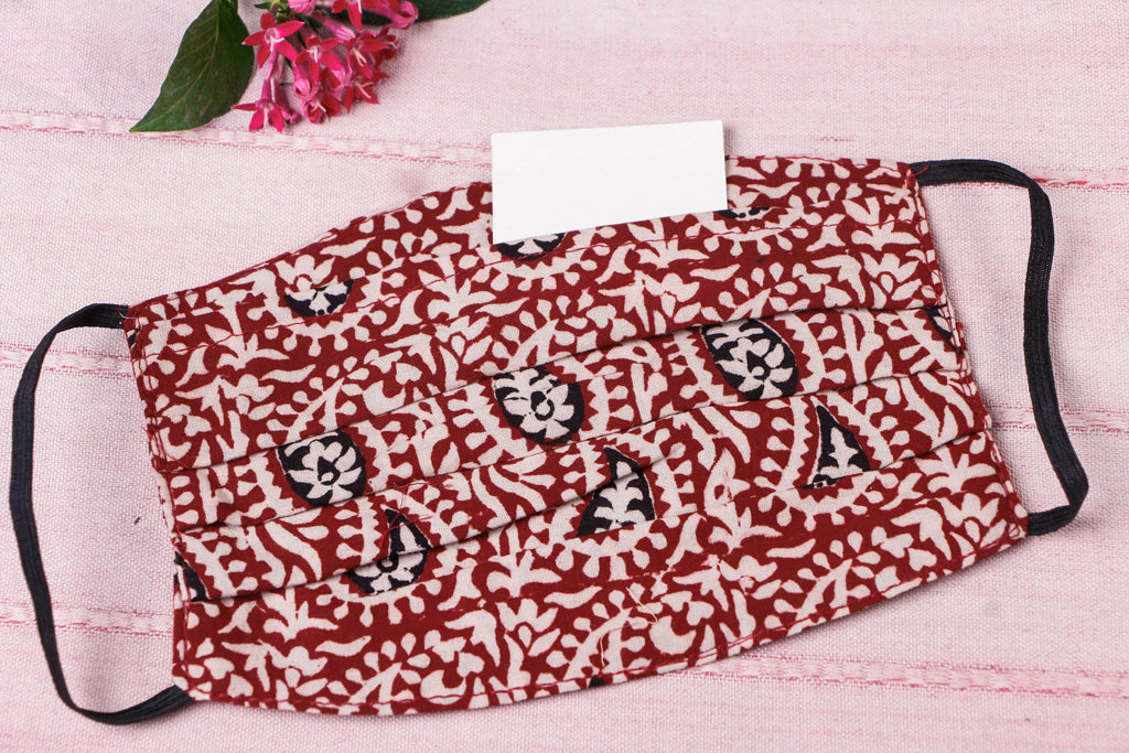 Bagh Print Cotton Fabric 3 Layer Pleated Face Cover with Filter Pocket
