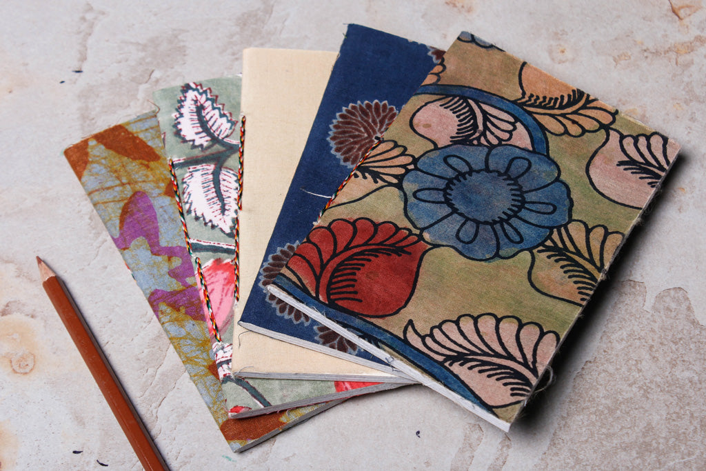 Fabric Cover Handmade Paper Slim Notebook (Set of 5)