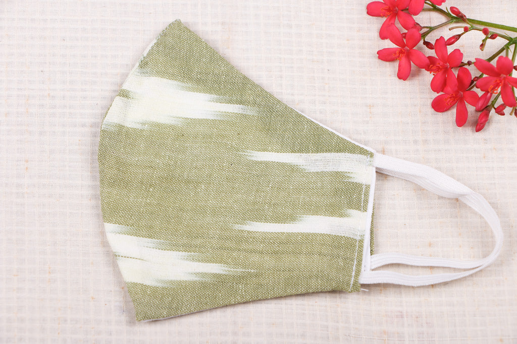 Pochampally Ikat Cotton Fabric SSMMS Filter 3 Layer Snug Fit Face Cover