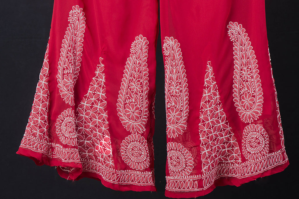 Lucknow Chikankari Hand Embroidered Georgette Palazzo Pant