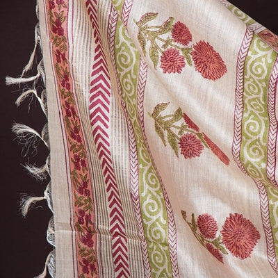 2pc Bhagalpuri Handloom Block Printed Tussar Silk Suit Material Set